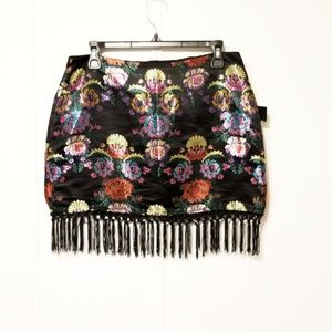 NWT After dark collection L unique fringed skirt